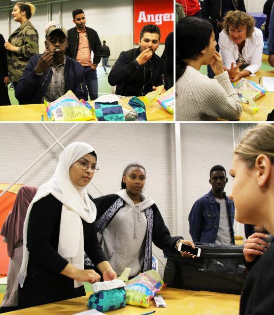 Mohamed kanske slog rekord... (vänster övre hörn), mentorer och lärare hejade på (högre övre hörn) och Tiba representerade elevkåren som initierat och planerat dagen (nedre bild, Tiba till vänster).