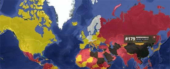 Skärmdump från RUGs hemsida med en översikt av den globala pressfriheten.